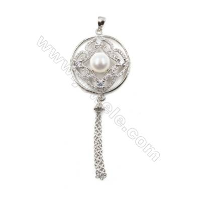 925 sterling silver platinum plated zircon fringed pendants-D5835 24mm x 5 pcs Diameter 7mm Small Needle Diameter 0.7mm