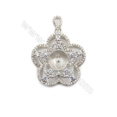 Silver 925 platinum plated micro pave zircon pendant, 25mm, x 5 pcs, tray 8mm, needle 0.5mm