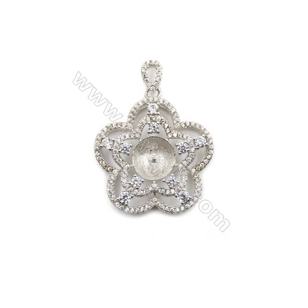 Silver 925 platinum plated micro pave zircon pendant, 25mm, x 5 pcs, tray 8mm, needle 0.5mm