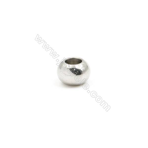 100pcs Stainless Steel Silver Large Hole Spacer Beads Jewelry Findings