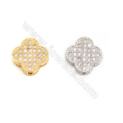 Gold-Plated (Rhodium Plated) Cubic Zirconia Brass Beads, Clover, Size 9x10mm, 40pcs/pack