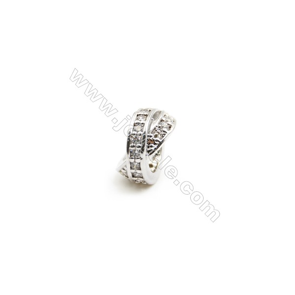 Gold-Plated (Rhodium Plated) Cubic Zirconia Brass Beads Charms  Double Round  Size 5x10mm  Hole 5mm   30pcs/pack