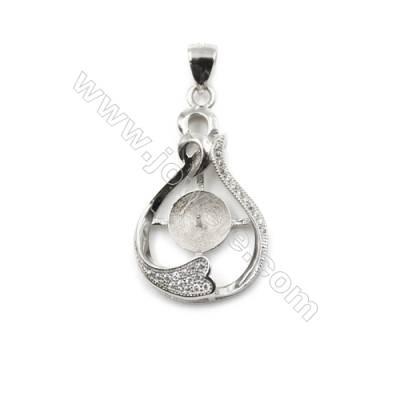 925 Sterling silver platinum plated inlaid CZ pendants, 18x30mm, x 5 pcs, Diameter 8mm, Needle 0.5mm