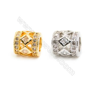 Gold-Plated (Rhodium Plated) Cubic Zirconia Brass Beads Charms  Column  Size 8x8mm  Hole 4.5mm  20pcs/pack