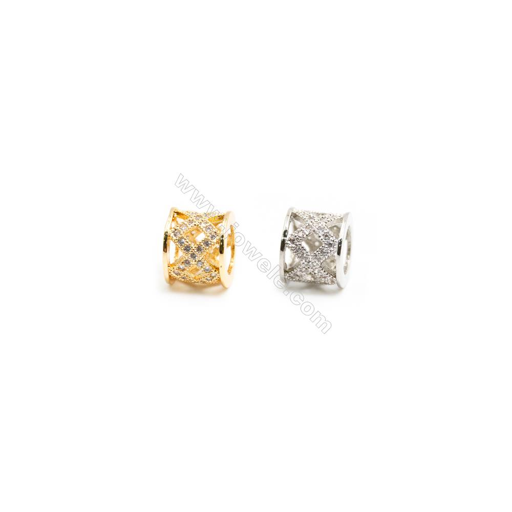 Gold-Plated (Rhodium Plated) Cubic Zirconia Brass Beads Charms  Column  Size 8x9mm  Hole 5.5mm  20pcs/pack
