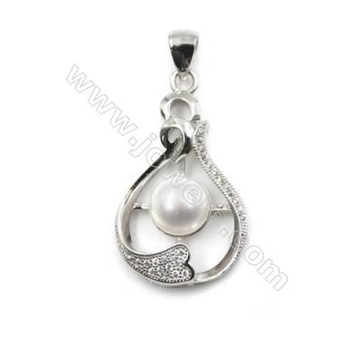 925 Sterling silver platinum plated inlaid CZ pendants-D5660 18x30mm x 5 pcs Diameter 8mm Small Needle Diameter 0.5mm