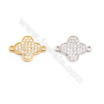 Gold-Plated (White gold Plated) Cubic Zirconia Brass Beads Charms, Clover, Size 11x16mm, 30pcs/pack