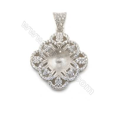 Wholesale 925 sterling silver platinum plated inlaid zircon pendant, 19x22mm, x 5pc, tray 9mm, needle 0.4mm