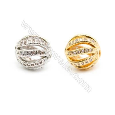 Gold-Plated (Rhodium Plated) Cubic Zirconia Brass Beads Charms  Round  Diameter 9mm  Hole 1mm  30pcs/pack