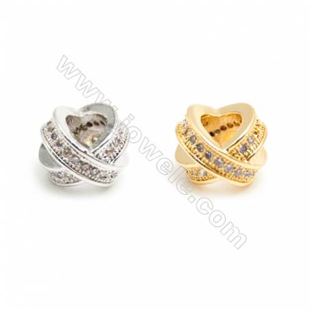Gold-Plated (Rhodium Plated) Cubic Zirconia Brass Charms  Cross Round  Size 5x10mm  Hole 4mm  30pcs/pack