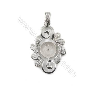 Superior silver 925 platinum plated CZ pendants, 20x32mm, x 5 pcs, tray 9mm, needle 0.6mm