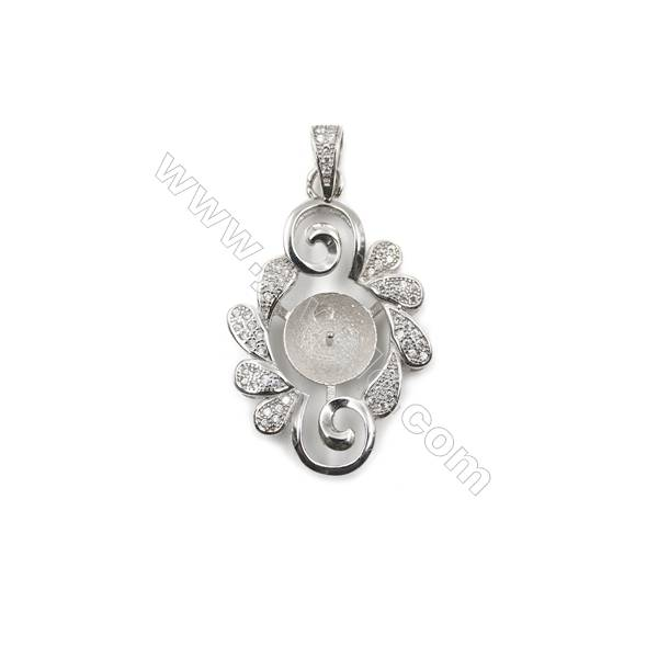 Superior silver 925 platinum plated CZ pendants, 20x32mm, x 5 pcs, tray 9mm, needle 0.6mm