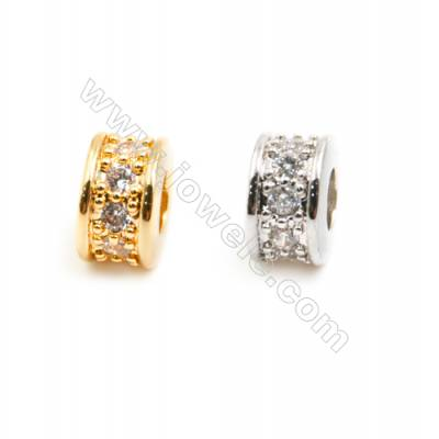 Gold-Plated (Rhodium Plated) Cubic Zirconia Brass Beads, Round, Size 3x6mm, Hole 2mm, 40pcs/pack