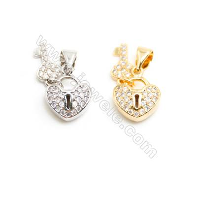Gold-Plated (Rhodium Plated) Cubic Zirconia Brass Pendant Charms  Heart  Size 10x12mm  20pcs/pack