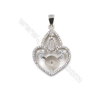 Silver 925 platinum plated inlaid zircon pendant, 21x28mm, x 5 pcs, tray 7mm, needle 0.4mm