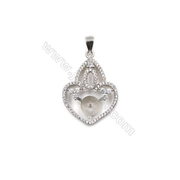 Silver 925 platinum plated inlaid zircon pendant, 21x28mm, x 5 pcs, tray 7mm, needle 0.4mm