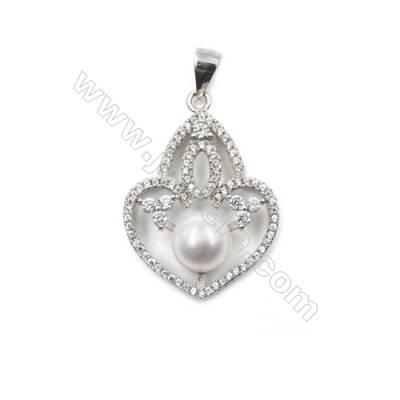 Silver 925 platinum plated inlaid zircon pendant -D5489 21x28mm x 5 pcs disc diameter 7mm needle diameter 0.4mm