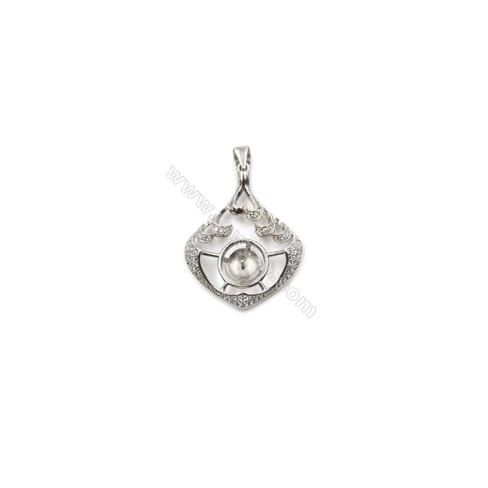 925 sterling silver platinum plated inlaid CZ pendant, 25x32mm, x 5pcs, tray 10mm, needle 0.5mm