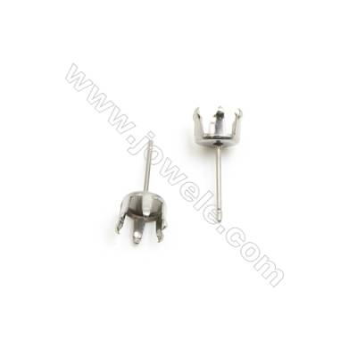 304 Stainless Steel Ear Stud Component  Size 17x7.6mm Pin 0.8mm  Tray 7mm  300pcs/pack