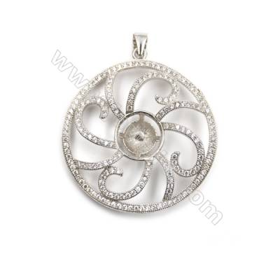 Sterling silver 925 platinum plated inlaid CZ pendants, 33mm, x 5pcs, tray 11mm, needle 0.5mm