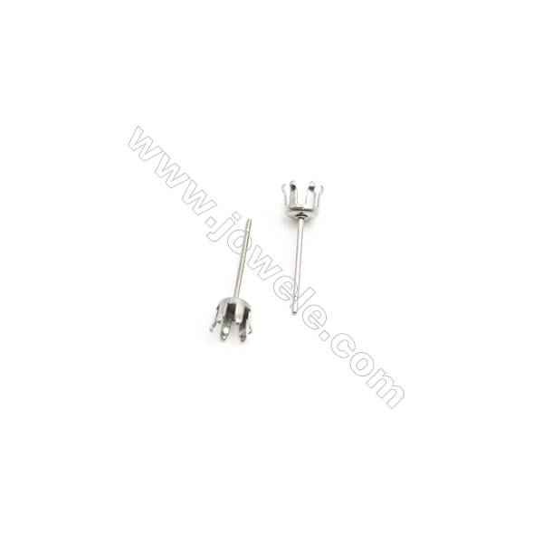 304 Stainless Steel Ear Stud Component  Size 16x5mm Pin 0.7mm  Tray 4mm  300pcs/pack