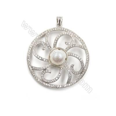 Sterling silver 925 platinum plated inlaid CZ pendants-D5633 33mm x 5pcs disc diameter 11mm needle diameter 0.5mm