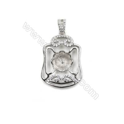 925 sterling silver platinum plated inlaid zircon pendant, 18x26mm, x 5mm, tray 9mm, Pin  0.6mm
