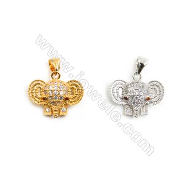Gold-Plated (Rhodium Plated) Cubic Zirconia Brass Pendant Charms  Elephant  Size 14x16mm  30pcs/pack