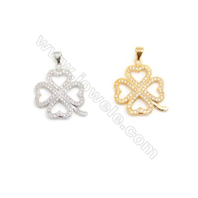 Gold-Plated (Rhodium Plated) Cubic Zirconia Brass Pendant Charms  Leaf  Size 21x24mm  20pcs/pack
