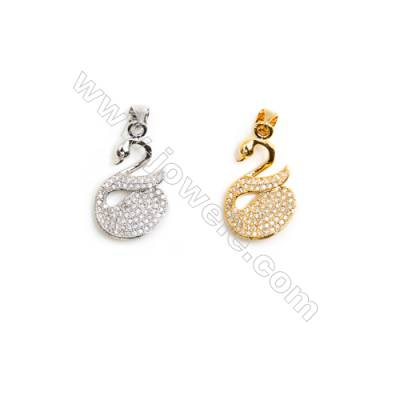 Gold-Plated (Rhodium Plated) Cubic Zirconia Brass Pendant Charms  Swan  Size 13x21mm  20pcs/pack