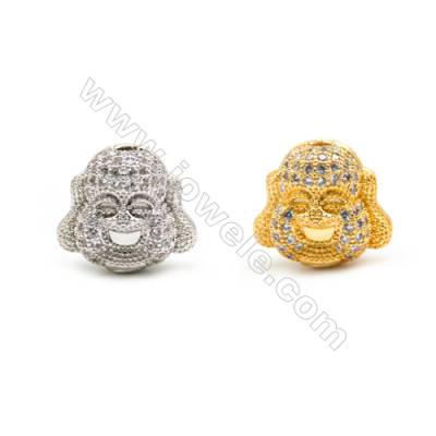 Gold-Plated (Rhodium Plated) Cubic Zirconia Brass Charms, Head, Size 14x15mm, Hole 1mm, 10pcs/pack