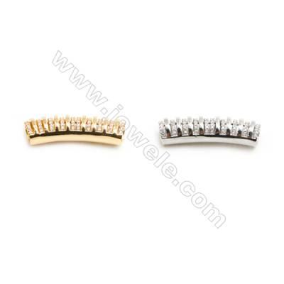 Gold-Plated (Rhodium Plated) Cubic Zirconia Brass Beads Charms, Brush, Size 7x30mm, Hole 4mm, 10pcs/pack