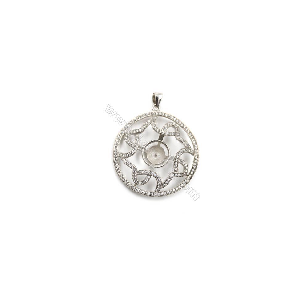 Silver 925 platinum plated inlaid CZ pendants, 33mm, x 5pcs, tray 11mm, needle 0.5mm