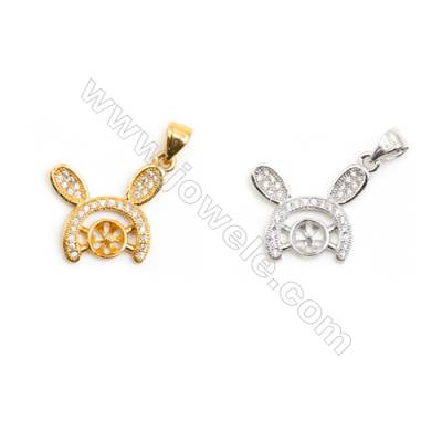 Gold-Plated (Rhodium Plated) Cubic Zirconia Brass Pendant Charms  Rabbit  Size 15x18mm  Tray 5mm  Pin 0.6mm  30pcs/pack