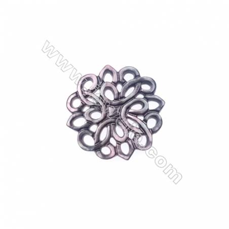 Openwork hollow design shell grey mother-of-pearl, 22mm, x 10pcs/pack