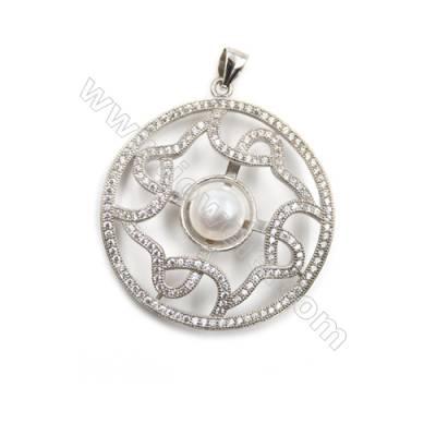 Silver 925 platinum plated  inlaid CZ pendants-D5631 33mm x 5pcs disc diameter 11mm needle diameter 0.5mm