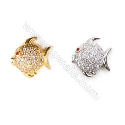 Gold-Plated (Rhodium Plated) Cubic Zirconia Brass Beads Charms, Fish, Size 17x18mm, Hole 2mm, 20pcs/pack