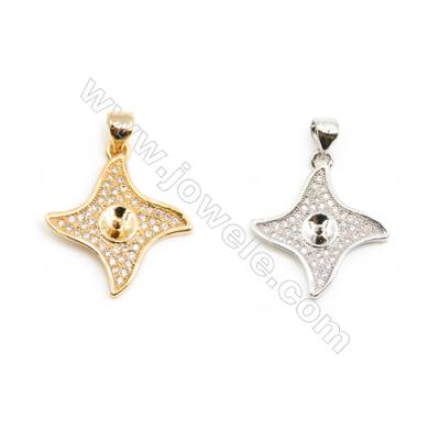 Gold-Plated (Rhodium Plated) Cubic Zirconia Brass Pendant Charms  Size 14x16mm  Tray 4.5mm  Pin 0.7mm  30pcs/pack