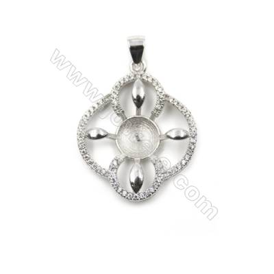 Platinum plated 925 sterling silver zircon pendant, 21x23mm, x 5 pcs, tray 8mm, needle 0.5mm