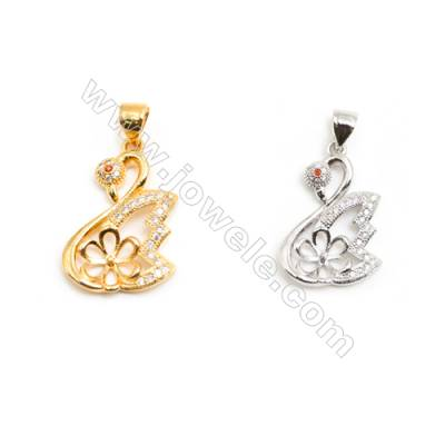 Gold-Plated (Rhodium Plated) Cubic Zirconia Brass Pendant Charms  Swan  Size 21x24mm  30pcs/pack
