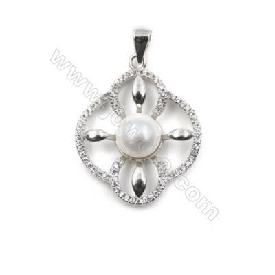 Platinum plated 925 sterling silver zircon pendant-D5474 21x23mm x 5 pcs diameter of disc 8mm needle diameter 0.5mm