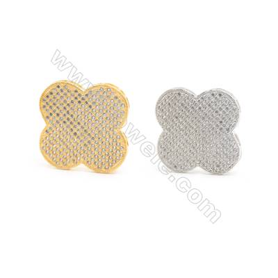 Gold-Plated (Rhodium Plated) Cubic Zirconia Brass Charms, Clover, Size 31x31mm, Hole 1mm, 10pcs/pack