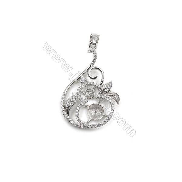 Silver 925 platinum plated inlaid CZ pendant for women jewelry, 24x36mm, x 5 pcs, tray 7mm, needle 0.6mm