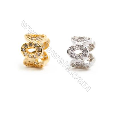 Gold-Plated (Rhodium Plated) Cubic Zirconia Brass Beads Charms  Size 5x9mm 30pcs/pack