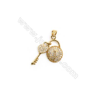 Gold-Plated (Rhodium Plated) Cubic Zirconia Brass Pendant Charms  Key and Lock  Size 21x24mm  20pcs/pack
