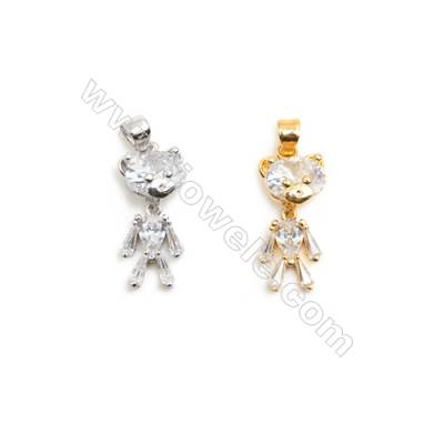 Gold-Plated (Rhodium Plated) Cubic Zirconia Brass Pendant Charms  Bear  Size 10x21mm  20pcs/pack