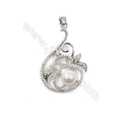 Silver 925 platinum plated inlaid CZ pendant for women jewelry-D5622 24x36mm x 5 pcs disc diameter 7mm needle diameter 0.6mm