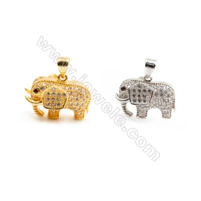 Gold-Plated (Rhodium Plated) Cubic Zirconia Brass Pendant Charms  Elephant  Size 14x19mm  20pcs/pack