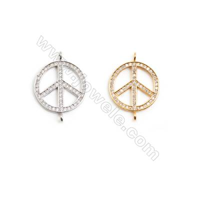Gold-Plated (White gold Plated) Cubic Zirconia Brass Beads Charms, Peace Symbol, Size 20x27mm, 20pcs/pack