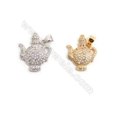 Gold-Plated (Rhodium Plated) Cubic Zirconia Brass Pendant Charms  Lamp  Size 16x20mm  20pcs/pack